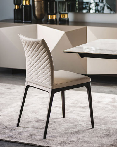 Stunning cream leather designer dining chair